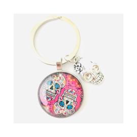 Sugar skull roze - sleutelhanger