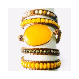 Wikkelarmband - geel