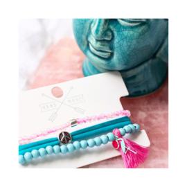 Aqua & roze - zilverkleur
