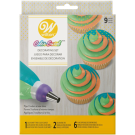 ColorSwirl Driekleurige Toef Decoratie Set/9