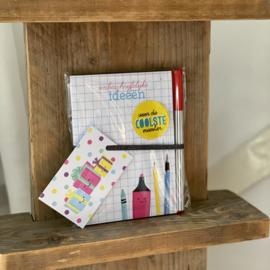 ONBESCHRIJFLIJKE ideeën   kadoset met notitieblokje, pen, kado label & sticker