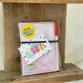 TEArrific ideas   kadoset met notitieblokje, pen, kado label & sticker
