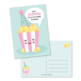 Just POPPIN' by to say happy birthday (roze)   Kaarten