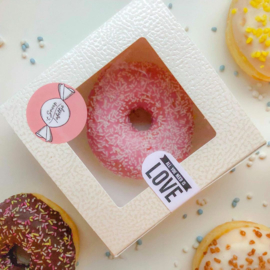Donut box sticker | Give - a - way - box | 4 stuks