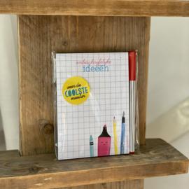 ONBESCHRIJFLIJKE ideeën   kadoset met notitieblokje, pen en sticker