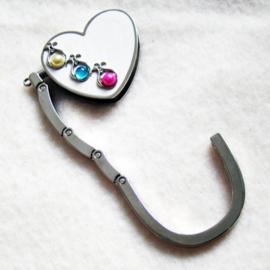 Tashaak hartvorm met steentjes wit