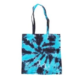 Tas handgeverfd - zwart en blauw