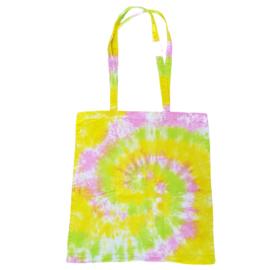 Tas handgeverfd - spiral roze geel lime