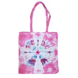 Tas handgeverfd - roze blauw wit
