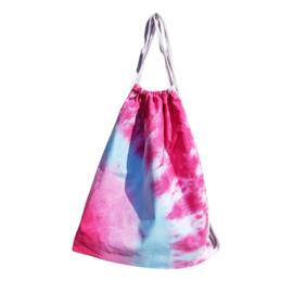 Rugtas handgeverfd - roze  blauw wit