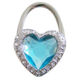 Tashaak hartvorm met strass lichtblauw