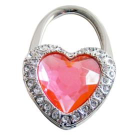 Tashaak hartvorm met strass roze