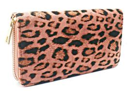 Portemonnee luipaardprint roze zwart