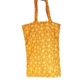 Vintage shopping bag silk sari okergeel