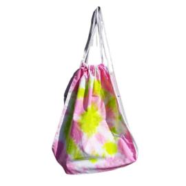 Rugtas handgeverfd - roze lime wit