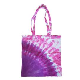 Tas handgeverfd - roze paars wit
