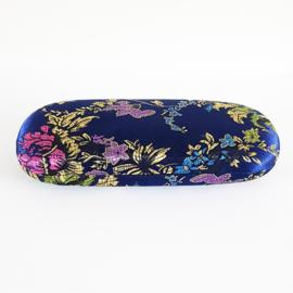 Brillenkoker donkerblauw met bloemen