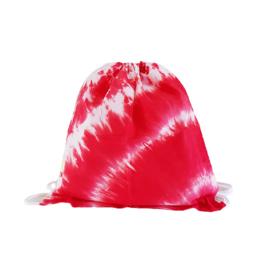 Rugtas handgeverfd - rood wit
