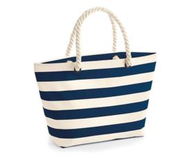Royale strandtas marineblauw met creme