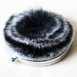 Make-up spiegel pluizebol grijs/wit