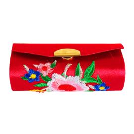 Lippenstifthouder met geborduurde bloemen rood