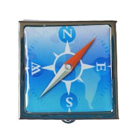 Pillendoosje kompas blauw