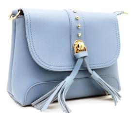 Grijsblauwe handtas met tassels