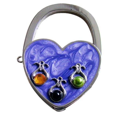 Tashaak hartvorm met steentjes paars
