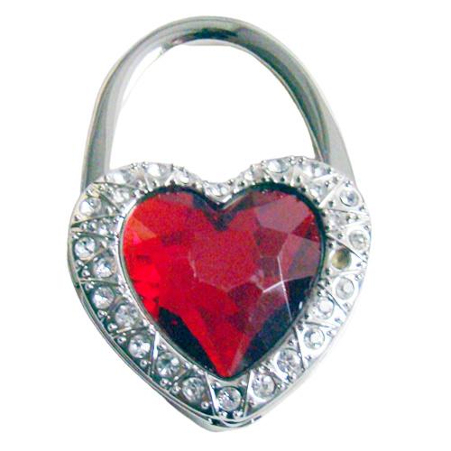 Tashaak hartvorm met strass rood