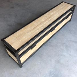 Tv-meubel staal met steigerhout