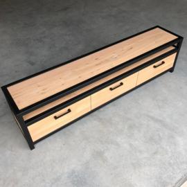 Tv-meubel staal met eikenhout