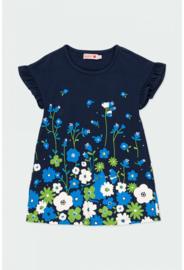 Boboli - Blauw stretch jurkje met bloemen