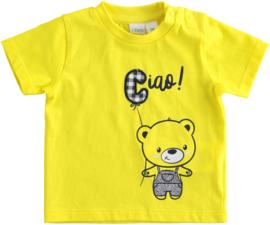 ido - Geel t-shirt 'Ciao' voor baby jongens
