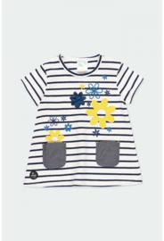 Boboli - Blauw-wit gestreept stretch jurkje