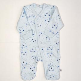 Pippi Babywear - Slaapromper met voetjes - blauw met beertjes