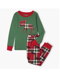 Little Blue House - Pyjama set - Holiday Moose On Plaid Kids
