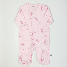 Pippi Babywear - Slaapromper met voetjes - roze met konijntjes