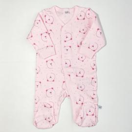 Pippi Babywear - Slaapromper met voetjes - roze met beertjes