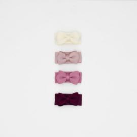 Noah & Sisi - Setje van 4 mini babyspeldjes - burgundy