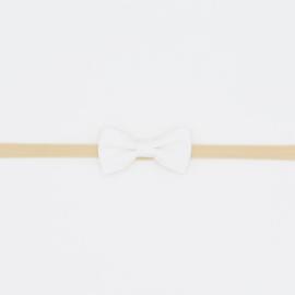 Noah & Sisi - Haarbandje met klassiek katoenen strikje - wit