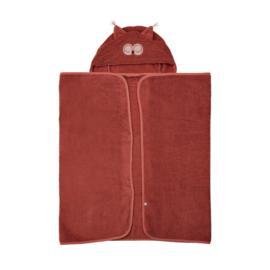 Pippi Babywear - Badhanddoek met capuchon - marsala rood