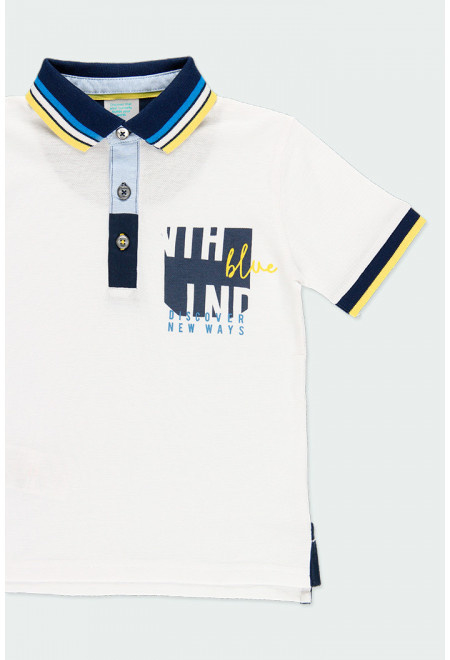 Boboli - Wit met donkerblauw polo shirt