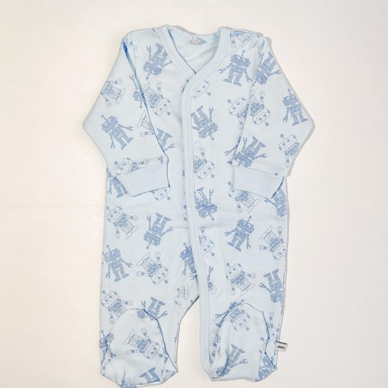 Pippi Babywear - Slaapromper met voetjes - blauw met robotjes