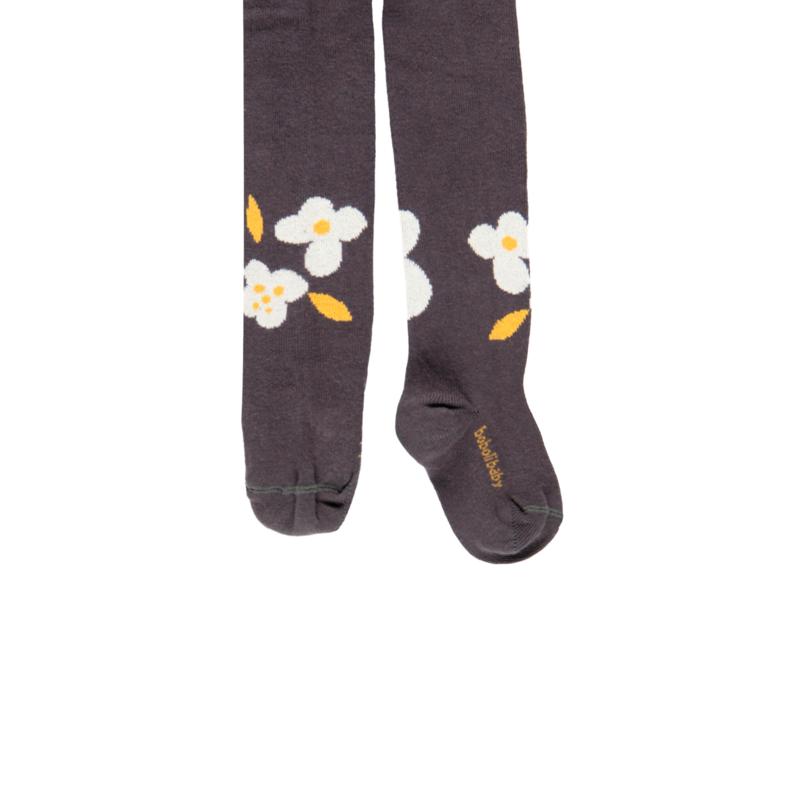 "Boboli - Antraciet grijze kousenbroek ""a fleurs"""