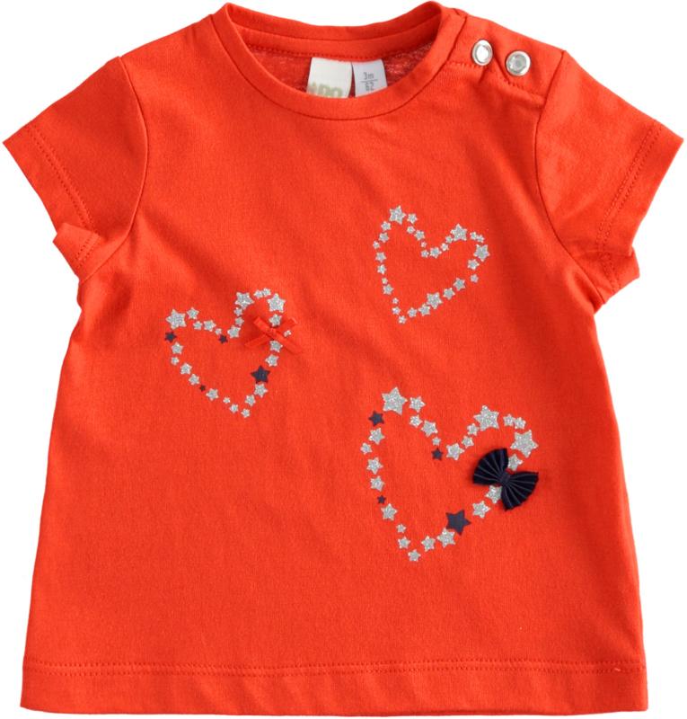 ido - Rode t-shirt 'Hearts' voor baby meisjes