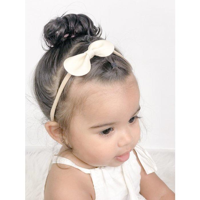 Noah & Sisi - Haarbandje met kunstleer strikje - crème