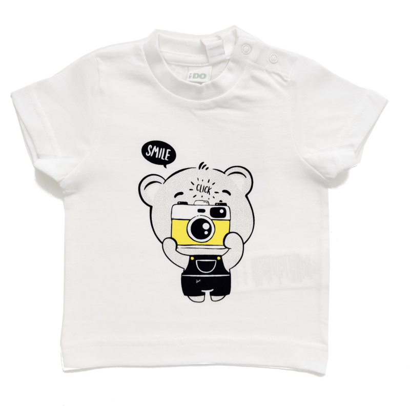 ido - Wit t-shirt 'Smile' voor baby jongens