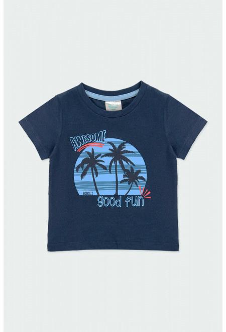Boboli - Blauw t-shirt 'palm tree'