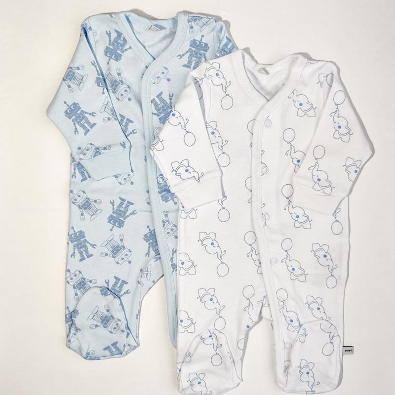 Pippi Babywear - Setje van 2 slaaprompers met voetjes - olifantjes & robotjes