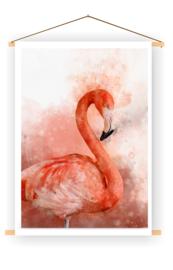 Flamingo op doek